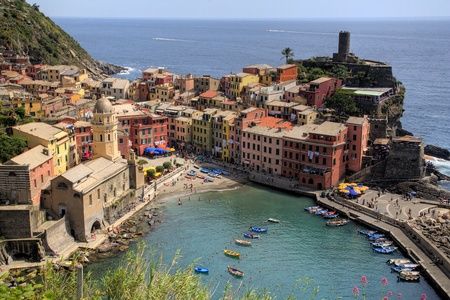 Vernazza, Cinque Terre Fishing Village in Italy Stock Photo