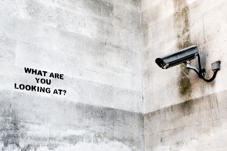 What are you looking at? Banksy Stock Photo