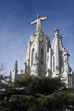 Statue of the Christ on top of Mount Tibidabo, Barcelona Stock Photo