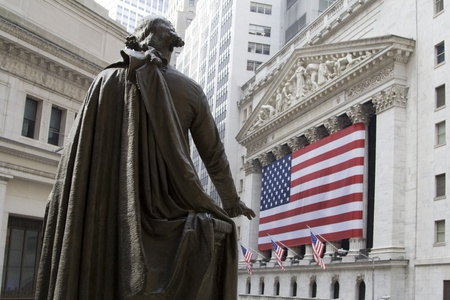UA Flag in front of New York Stock Exchange
