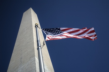 Washington Monument, USA Flags