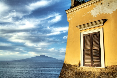 Traditional Italian house in front of Mt Vesuvius Stock Photo