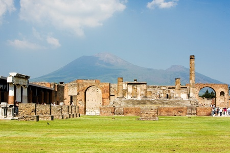 Ruins of ancient town Pompeii and Mt Vesuvius, Italy
