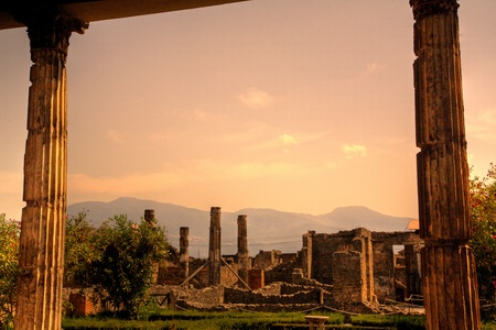 Ruins of Pompeii at sunset, Italy Stock Photo