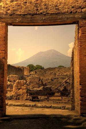 View of Mt Vesuvius from Pompeii, Italy