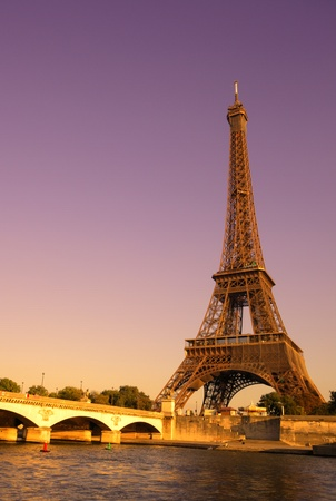 steel bridge: The Eiffel Tower over the River Seine in Paris, France Stock Photo