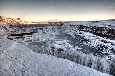 Frozen Gulfoss Waterfall in Iceland Stock Photo