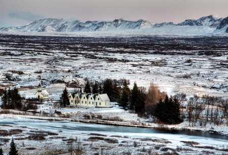 Beautiful winter village in Iceland Stock Photo
