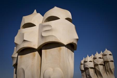 Gaudi chimneys in Barcelona, Spain Stock Photo