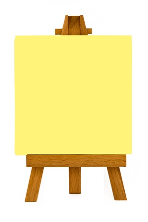 Yellow Note Pad On Painters Easel Stock Photo