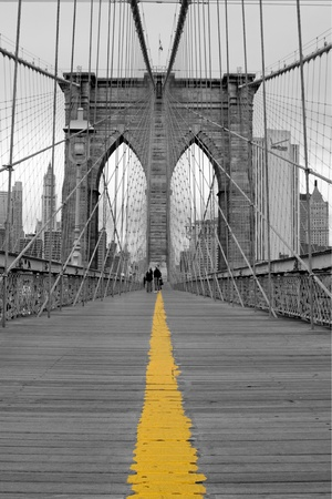 View of the Brooklyn bridge in New York Imagens