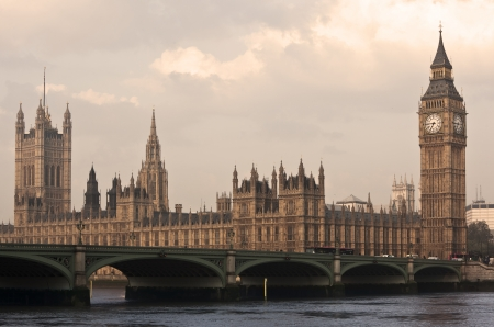 Famous Big Ben in the morning with bridge, London, England