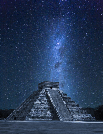 Chichen Itza with dramatic Milky Way in Mexico