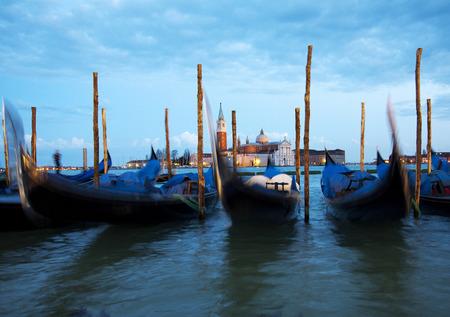 Gondolas in Venice at Sunset
