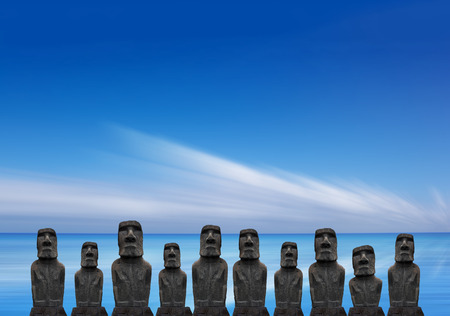 civilizations: Moai Statues on Easter Island, Chile Stock Photo