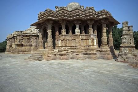 gujarat: Sun Temple at Modhera. Ancient Hindu temple built circa 1027. Gujarat, India.