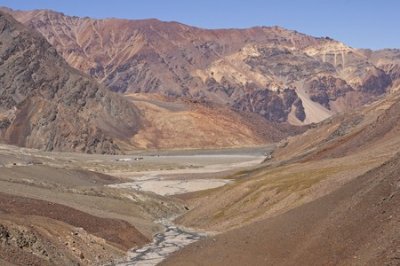 Manali to Leh mountain highway. Barren mountains. Winding road. India photo