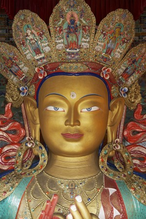 gelugpa: Golden Buddha inside a temple at Thikse monastery. Ladakh, India