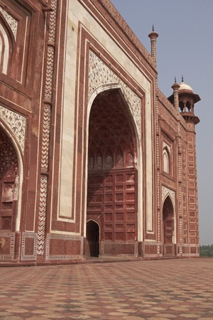 mughal: Mosque at the Taj Mahal. Mughal style building of red sandstone inlaid with marble. Agra, Uttar Pradesh, India