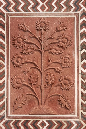 mughal: Detail of decoration on the mosque at the Taj Mahal. Mughal style building of red sandstone inlaid with marble. Agra, Uttar Pradesh, India
