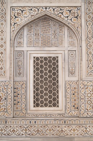 inlaid: Ornate white marble muslim tomb inlaid with semi-precious stones (Itimad-ud-Daulah). Agra, India Stock Photo