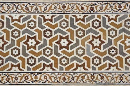 Detail of ornate inlaid white marble of the Mughal tomb (I'timad-ud-Daulah). 17th Century AD. Agra, Uttar Pradesh, India