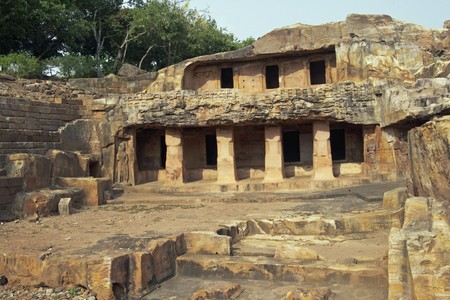 1st century: Jain cave temples carved out of the solid rock of the hillside at Bhubaneshwar, Orissa, India. 1st Century BC