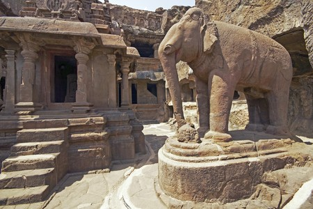 Elephant statue in the courtyard of an ancient Jain Temple (Indra Sabha). Cave number 32, Ellora Caves, near Aurangabad, India. 10th - 12th Century AD