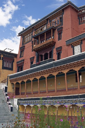 gelugpa: Buddhist temple (gompa) inside Thikse Monastery. Red building in Tibetan style. 15th century AD. Ladakh, India