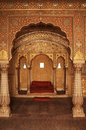 pillars: Ornately decorated room inside the palace of an Indian Maharjah. Bikaner Rajasthan