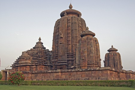 dome of hindu temple: Ancient Hindu Temple (Brahmesvara Temple). Ornately carved building with multiple towers inside a walled compound. Bhubaneswar Orissa India. 11th Century AD