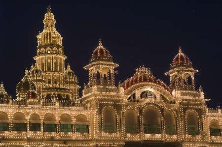 City Palace illuminated by thousands of light-bulbs. Mysore, India Stock Photo - 4367658