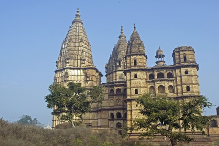 imposing: Imposing stone towers of Chaturbhuj Hindu temple Orchha Madhya Pradesh India