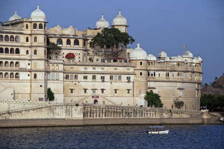 Rajput style City Palace by Lake Pichola, Udaipur, Rajasthan, India Stock Photo