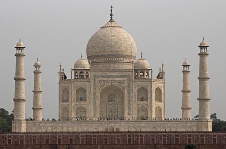 iconic: Taj Mahal. Iconic white marble mausoleum. Agra Uttar Pradesh India