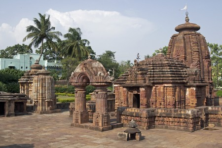 dome of hindu temple: Ancient Hindu Temple (Mukteshvara Temple). Ornately carved building with unique entrance arch. Bhubaneswar Orissa India. 10th Century AD