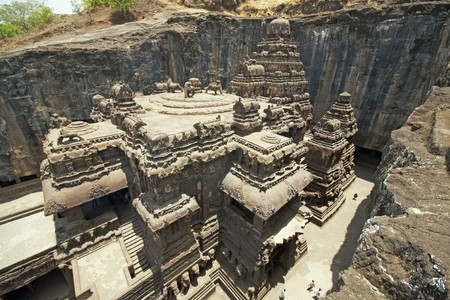 Ancient Hindu Temple (Kailas Temple) carved out of solid rock. Cave number 16 Ellora Caves near Aurangabad India. 8th Century AD