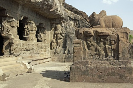 nandi: Ancient Hindu Temple carved out of solid rock Ellora Caves near Aurangabad India. Cave number 21 (Rameshwar).
