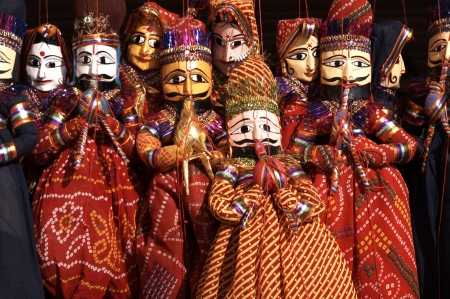 rajasthan: Group of colouful puppets for sale in Jaipur Rajasthan India