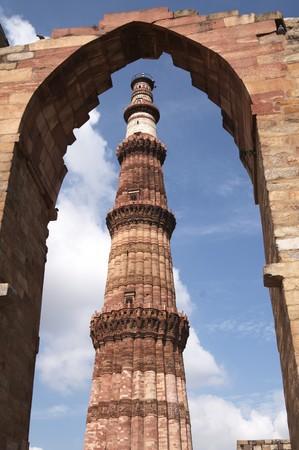 Qutb Minar. Ancient islamic victory tower. Delhi India photo