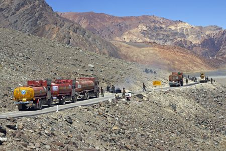 roadworks: Fuel tankers held up at roadworks on the mountain road between Manali and Leh in Ladakh, India