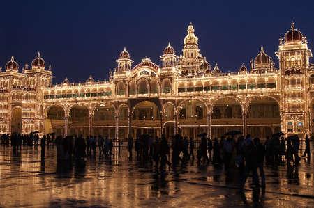 Mysore Palace illuminated by thousands of light bulbs at night.. Mysore, Karnatica, India Stock Photo - 4605426