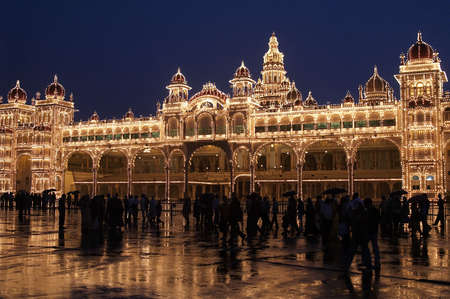Mysore Palace illuminated by thousands of light bulbs at night.. Mysore, Karnatica, India