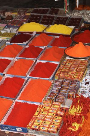 largest: Piles of paint powder for sale at the Asias largest cattle fair. Sonepur, Bihar, India Stock Photo