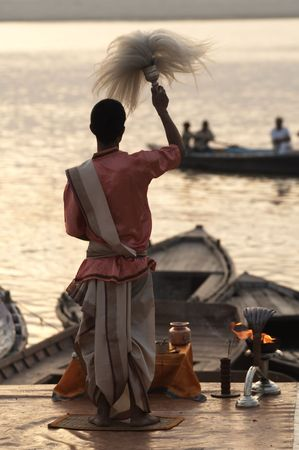ganges: Priest conducting religious ceremony at Varanasi Uttar Pradesh India
