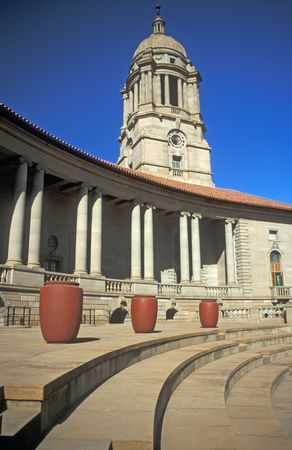 Majestic Sweep of the Union Buildings in Pretoria - Seat of the South African Government. Stock Photo