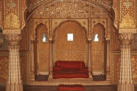 rajasthan: Ornately decorated room inside the palace of the Maharjah of Bikaner. Rajasthan India