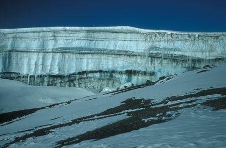 Glacier on top of Mount Kilimanjaro Tanzania Africa