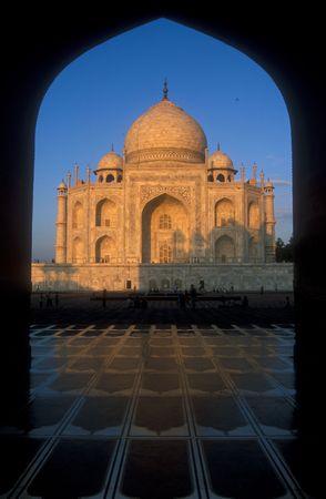 uttar: Taj Mahal. Iconic white marble mausoleum. Agra, Uttar Pradesh, India.