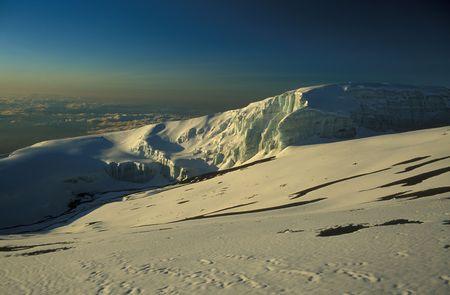 kilimanjaro: Glacier on top of Mount Kilimanjaro, Tanzania, Africa Stock Photo
